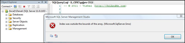 Index Was Outside The Bounds Of The Array Microsoft Sqlserver Smo