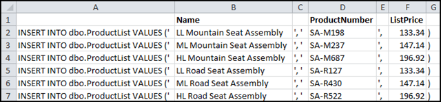 Importing data from Excel – using INSERT statements   Sql And Me
