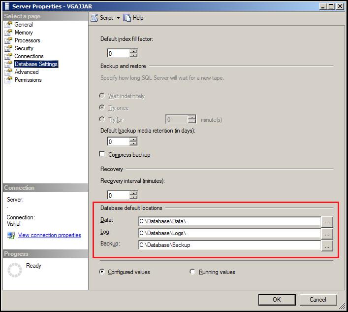 Error Log: Changing Default Database Location For Server